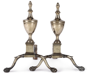 Pair of Philadelphia Federal brass andirons