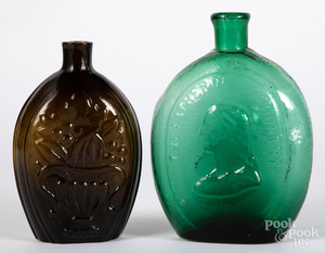 Cornucopia and urn amber blown glass flask, etc.
