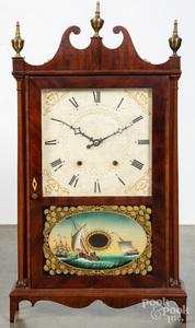 Eli Terry Federal mahogany pillar and scroll clock