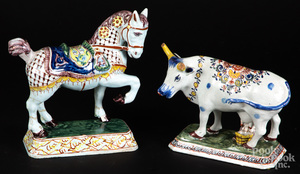 Delft horse and milking cow figures