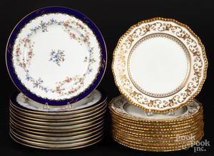 Set of twelve Coalport porcelain plates, etc.