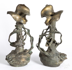 Pair of white metal Art Nouveau vases