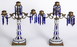 Pair of opaque glass cut to cobalt candelabra