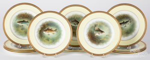 Set of twelve Foley China porcelain fish plates