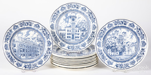 Set of thirteen Wedgwood Yale University plates