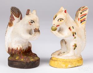 Two chalkware squirrels