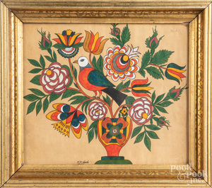 G. B. French watercolor fraktur