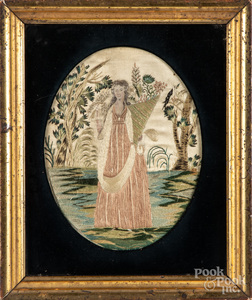 Embroidered picture of a woman with cornucopia