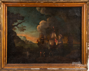Continental oil on canvas maritime scene