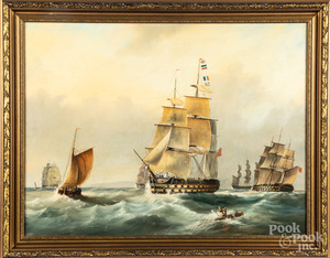 Oil on canvas maritime scene