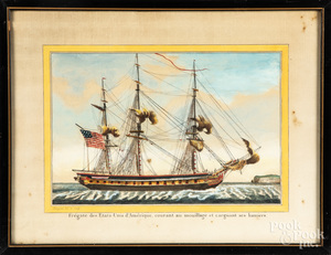 Pair of French color engravings of American ships