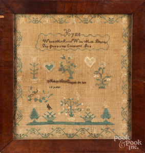 Pennsylvania silk on linen sampler