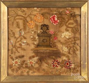 Wool on linen memorial sampler