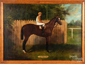 Oil on canvas horse and jockey