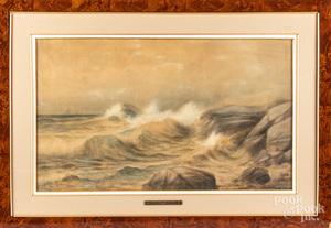 Edmund Darch Lewis watercolor coastal scene
