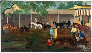 Oil on board folk art stable scene