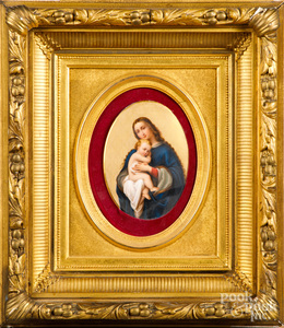 Painted porcelain plaque of Madonna and child