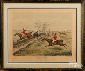 Color lithograph of a fox hunting scene, etc.