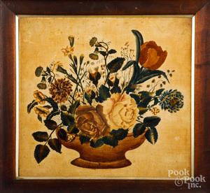 Oil on velvet theorem of a bowl of flowers