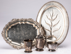 Tiffany and Co. silver-soldered serving tray, etc.