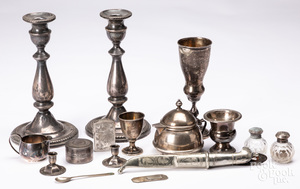 Group of sterling silver, weighted silver, etc.