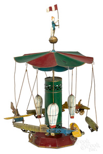 Painted tin airship carousel steam toy accessory