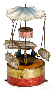 Painted tin dirigible steam toy accessory