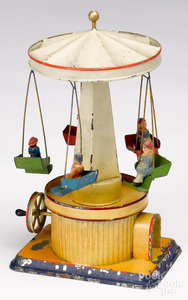 Painted tin flying carousel steam toy accessory