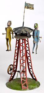 Painted tin acrobats steam toy accessory