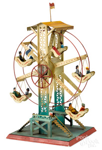 Doll painted tin Ferris wheel steam toy accessory