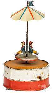 Painted tin carousel steam toy accessory