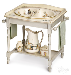 French Kate Greenaway porcelain wash stand