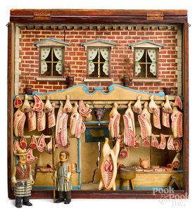 Exceptional European style butcher shop diorama