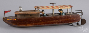 Liberty Playthings wood and tin wind-up river boat