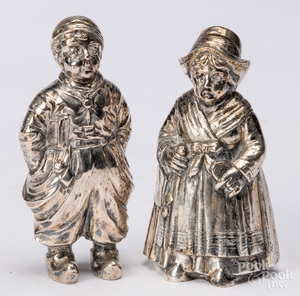 Pair of silver Dutch boy and girl shakers