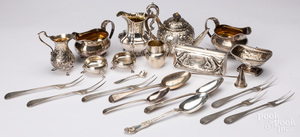 Group of English silver tablewares