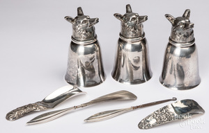Three silver plated fox head cups, etc.