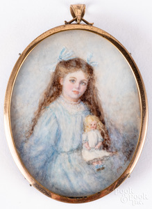Miniature watercolor on ivory portrait of a girl