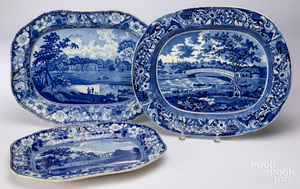 Historical blue Staffordshire platter, etc.