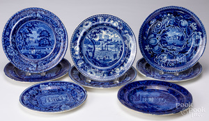 Eight blue Staffordshire English scenery plates