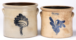 Two cobalt decorated stoneware crocks