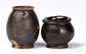 Two miniature redware crocks