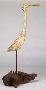 Vernon Bryant carved and painted egret