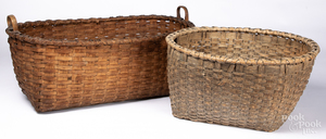 Two large split oak baskets