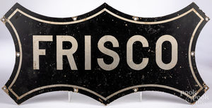 Painted steel Frisco railroad sign
