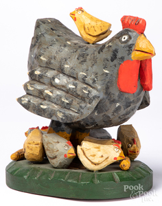 Strawser carved and painted Special Hen and chick