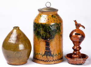 Shooner redware Adam & Eve jar, etc.