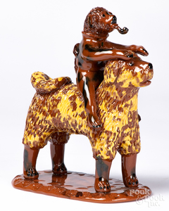 Breininger redware standing dog with monkey