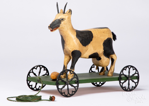 Gottshall carved and painted goat pull toy