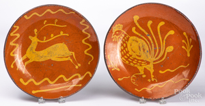 Two Shooner redware plates